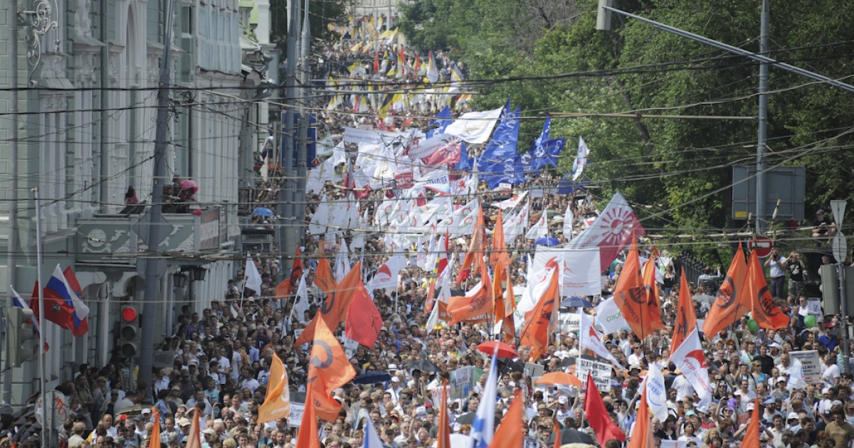Opposition activists rally in Moscow, on June 12, 2012. Tens of thousands of protesters chanting