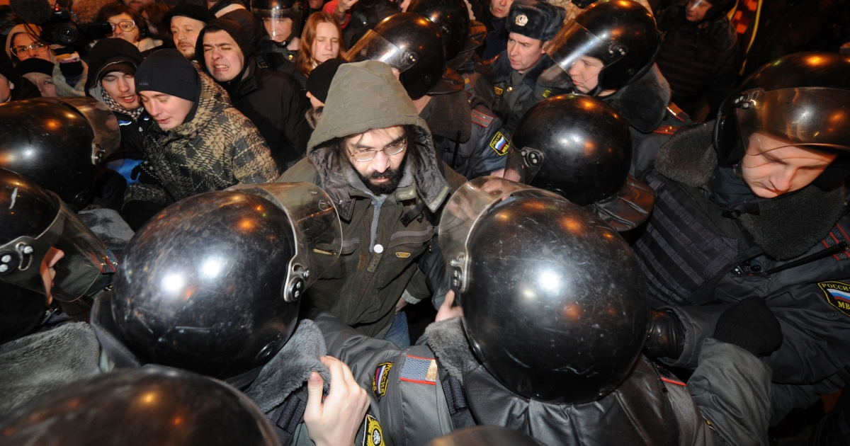 Russian police detained over 60 protesters on New Year's Eve.</p>