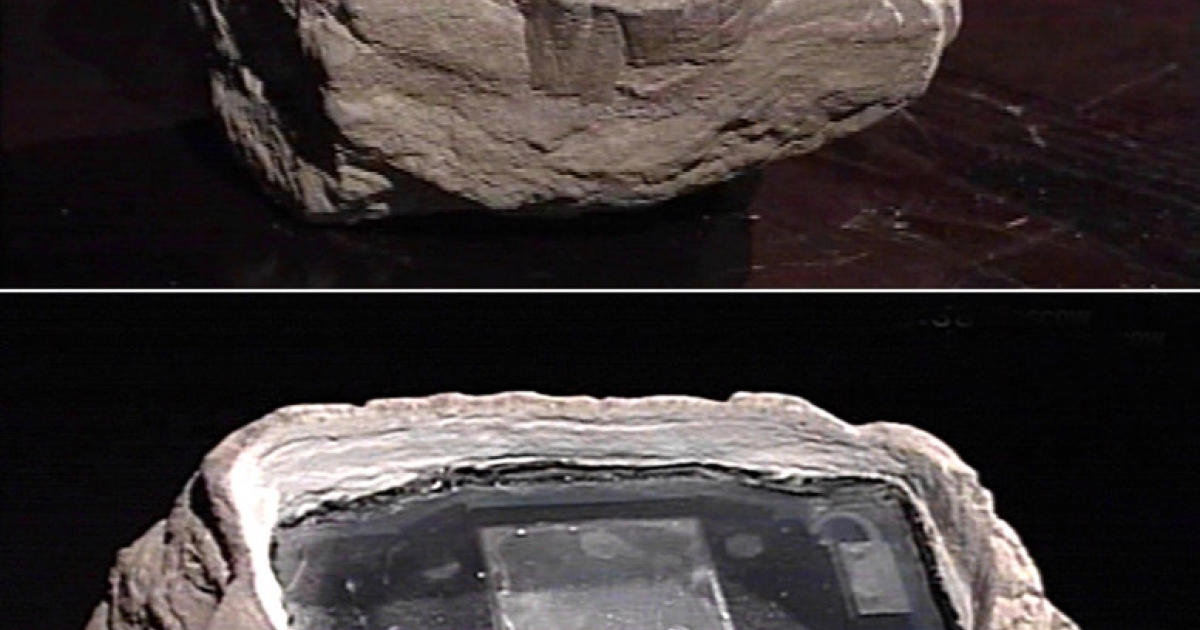 This image from Russian television shows electronic equipment concealed in a rock, which was claimed to be used by four British embassy staff members to receive intelligence information provided by Russian agents in a park outside Moscow.</p>