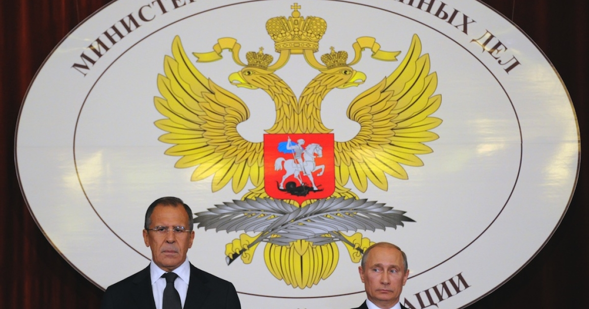 President Vladimir Putin (L) and Foreign Minister Sergei Lavrov meet Russian Ambassadors in the Foreign Ministry, in Moscow, on July 9, 2012. Putin said Syria needed a dialogue between the regime and opposition forces to ensure a lasting peace.</p>