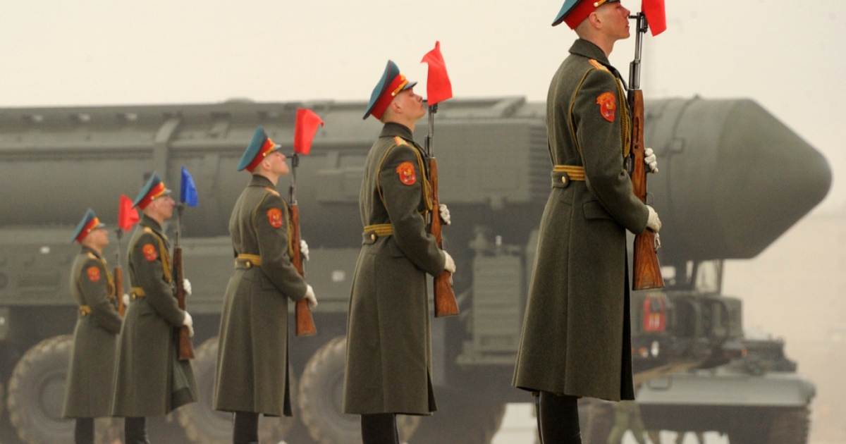 A column of Russia's Topol intercontinental ballistic missile launchers rolls during a rehearsal of the Victory Day Parade in Alabino, outside Moscow, on April 18, 2012. Russia tested a secret missile on May 23, 2012, capable of penetrating NATO's European defense shield, according to Russian military sources.</p>