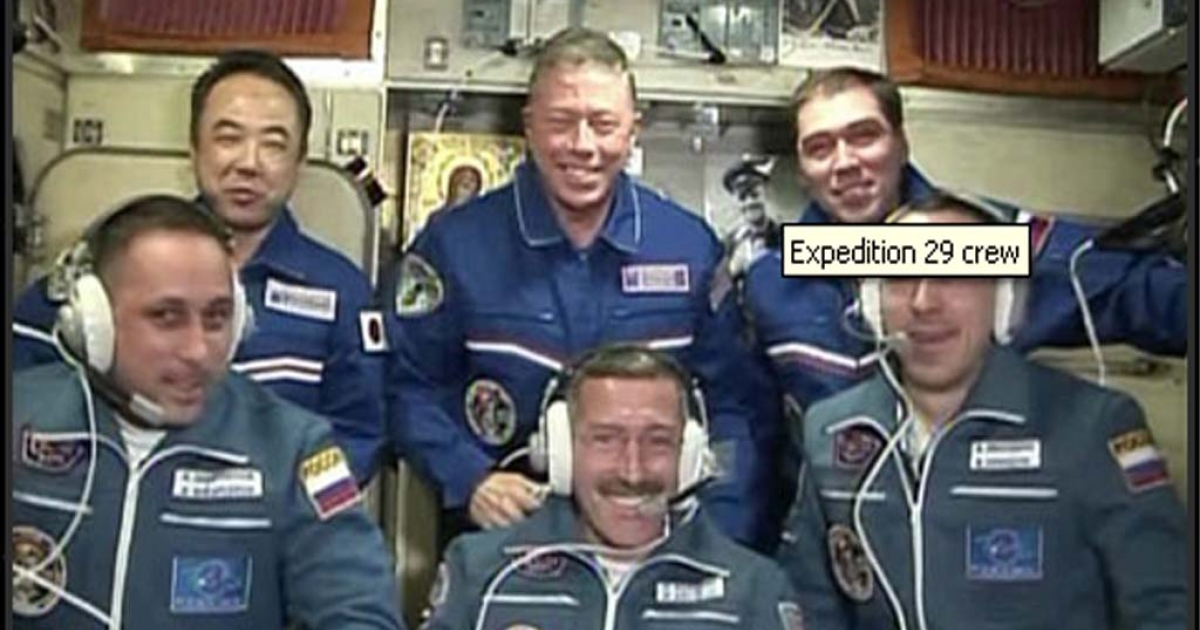 The crew aboard the ISS, as shown on the Nasa website.</p>