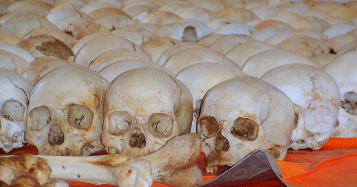 Human skulls rest in the vestibule of the Nyarubuye Church near Kibuye, Rwanda.  In 1994, thousands of ethnic Tutsis took refuge in the church only to be slaughtered by Interahamwe militia.</p>