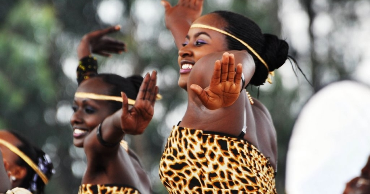 Musicians and dancers perform traditional numbers for Kwita Izina, the annual gorilla naming ceremony. Mountain gorillas are at the center of the Rwandan tourism industry.</p>