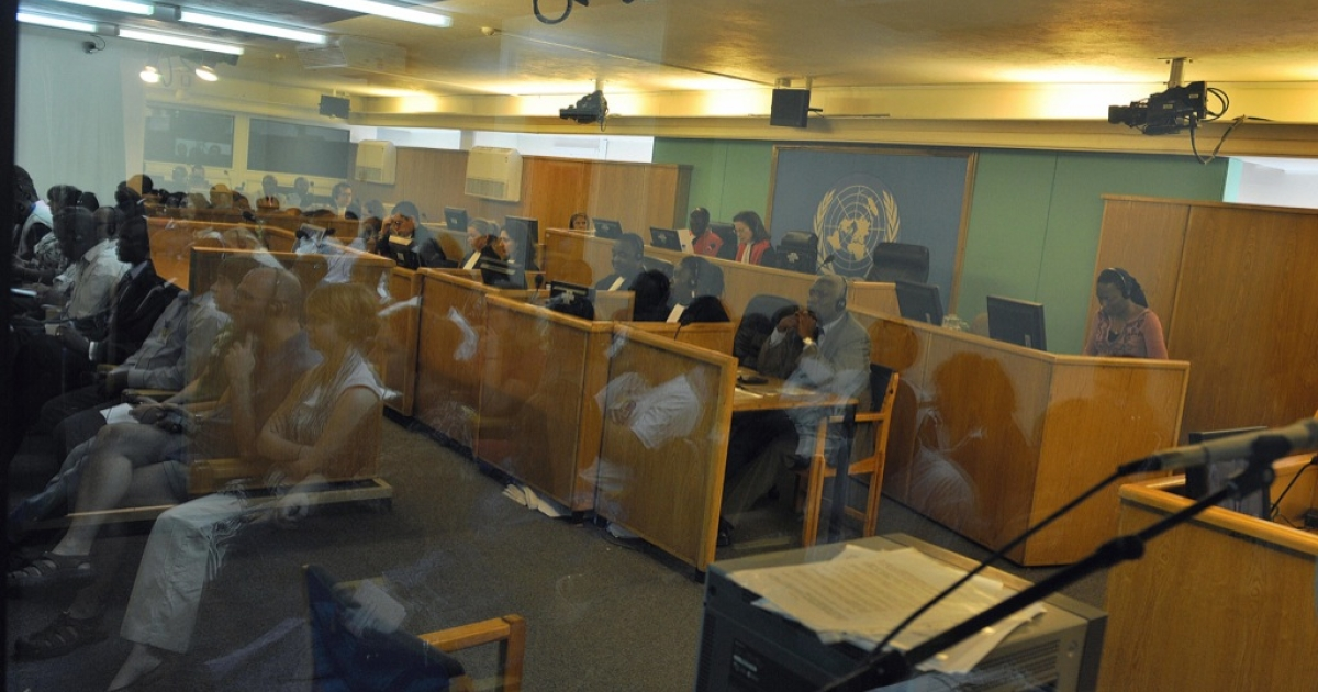This photo shows a general view of a courtroom during a International Criminal Tribunal for Rwanda (ICTR) session at the Arusha International Conference Center where Former Rwanda army's Col. Theoneste Bagosora, Lt. Col. Anatole Nsengiyumva and Maj. Aloys Ntabakuze were sentenced to life in prison on charges of genocide.</p>