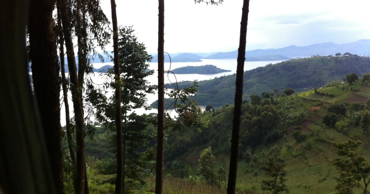 View of Lake Burera in northern Rwanda.</p>