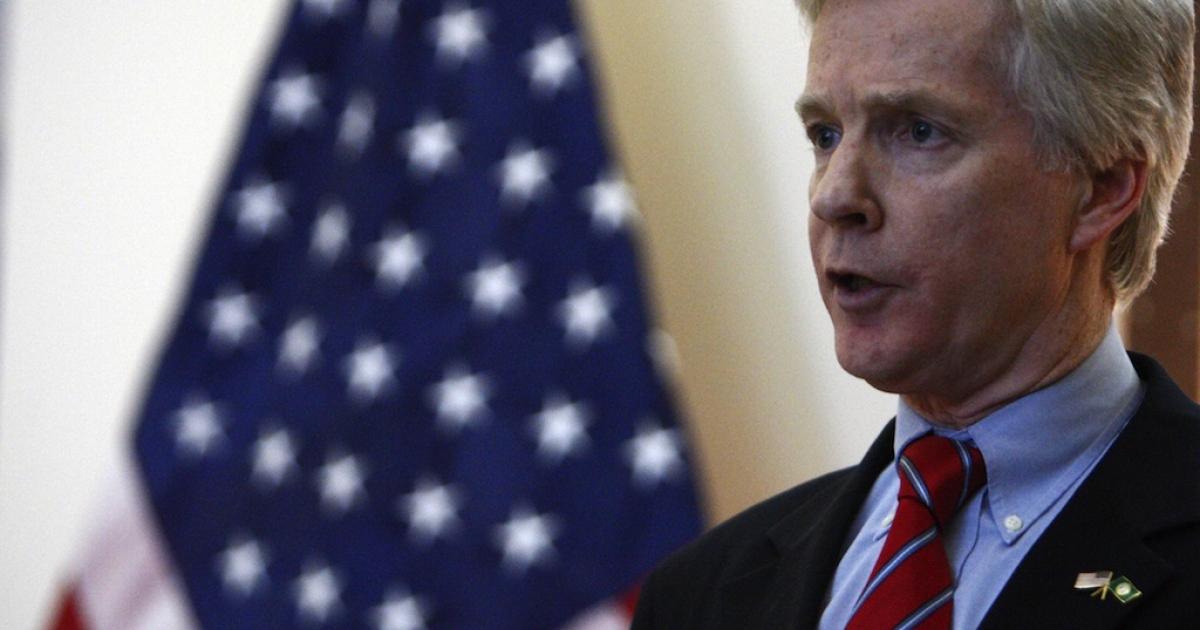 Former U.S. ambassador to Iraq Ryan Crocker speaks at the U.S. embassy compound in Baghdad on November 5, 2008.</p>