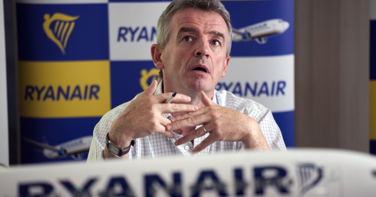 Irish budget airline Ryanair CEO Michael O'Leary speaks during a press conference in Marignane, France, on July 26, 2011.</p>