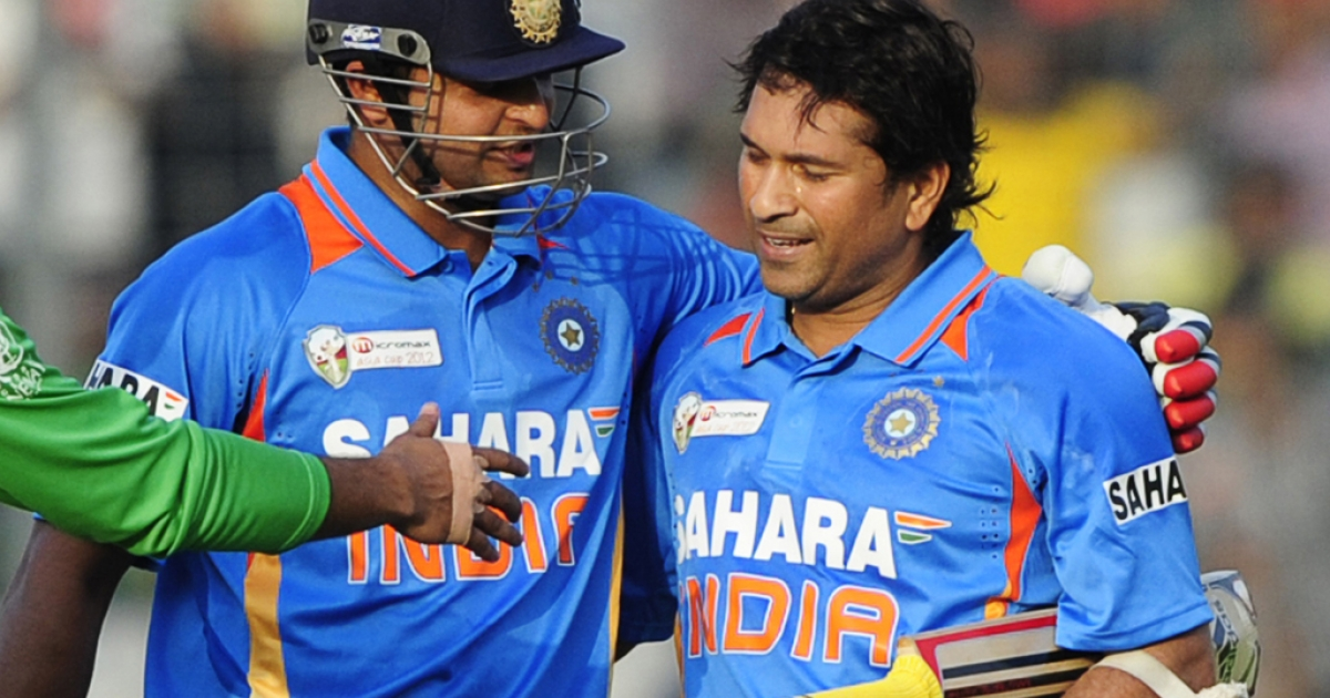 Sachin Tendulkar is congratulated by teammate Suresh Raina after scoring his hundred century (100 runs) during the one day international (ODI) Asia Cup cricket match between India and Bangladesh at the Sher-e-Bangla National Cricket Stadium in Dhaka on March 16, 2012.  India's Sachin Tendulkar became the first batsman in history to score 100 international centuries, adding another milestone in his record-breaking career.</p>