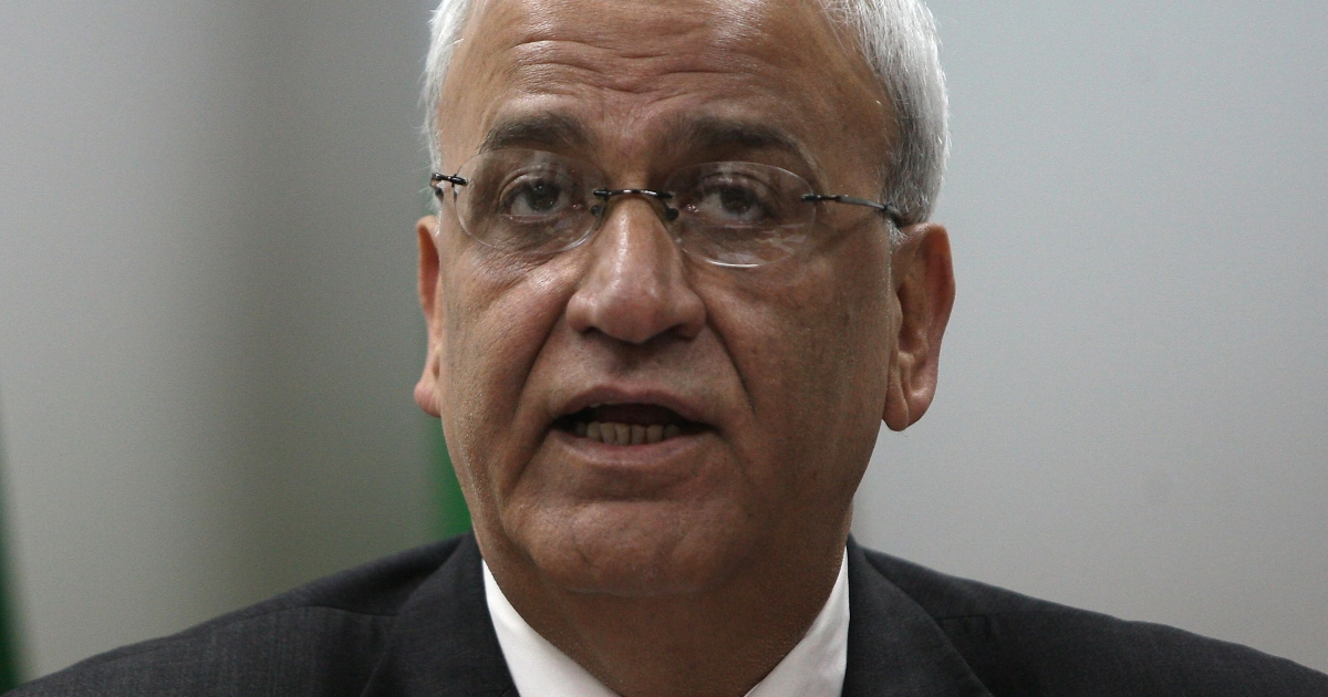 Saeb Erekat, Palestinian chief negotiator, speaks to journalists during a press conference in the West Bank city of Ramallah on January 2, 2012.</p>