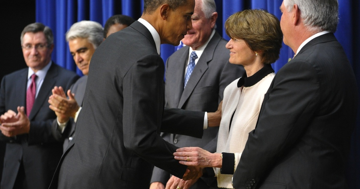 President Barack Obama greets former astronaut Sally Ride after speaking on the expansion of his 'Educate to Innovate' initiative on September 16, 2010 in Washington, DC.</p>