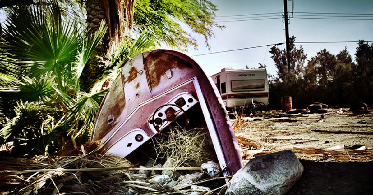 A boat oddly stuck in the ground, right next to the marina on the west coast of the Salton Sea, California, on June 13, 2010.</p>