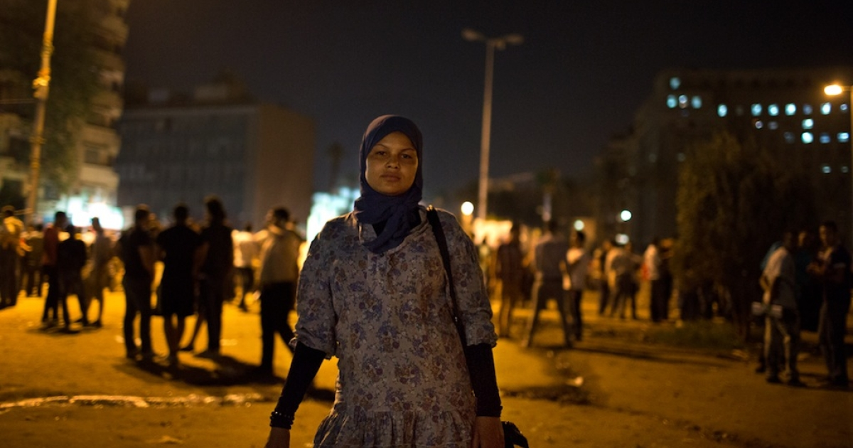 Samira Ibrahim in Tahrir Square in May 2012. She was arrested in the square in March before undergoing a