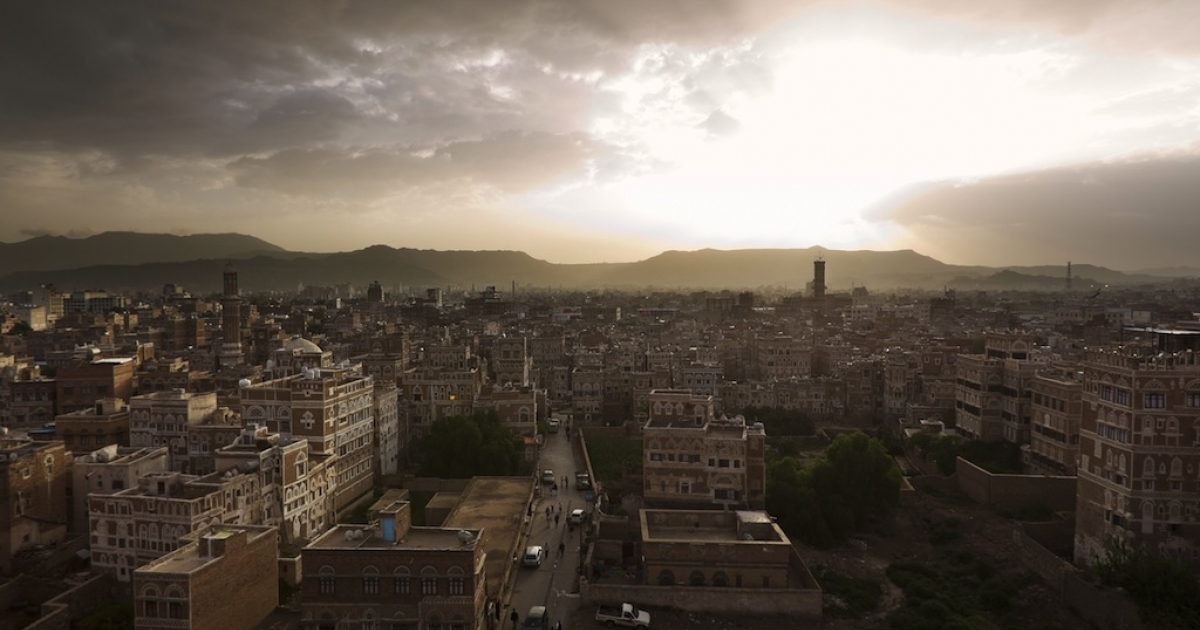 Looking over the ancient old city within the heart of Sana'a, the capital city of Yemen, on Aug. 16, 2010.</p>