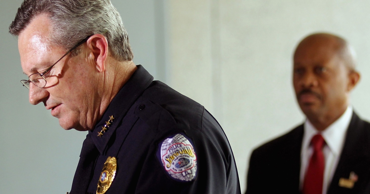 Sanford Police Department Chief Bill Lee (L) speaks while announcing he will temporarily step down in the wake of the Trayvon Martin killing as Sanford city manager Norton Bonaparte Jr. (R) stands by on March 22, 2012, in Sanford, Fla.</p>