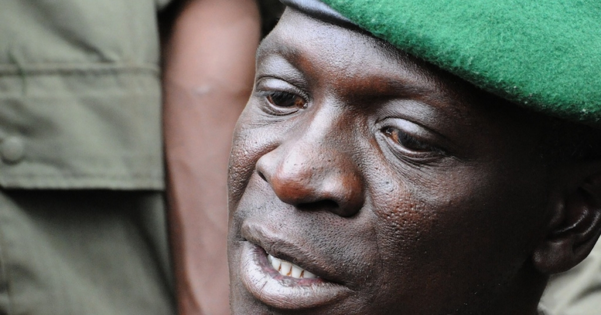 Mali junta leader Captain Amadou Sanogo speaks at the Kati Military camp, in a suburb of Bamako, on March 22, 2012. The coup leader said he is the head of the National Committee for the Establishment of Democracy, said his move was prompted by government's