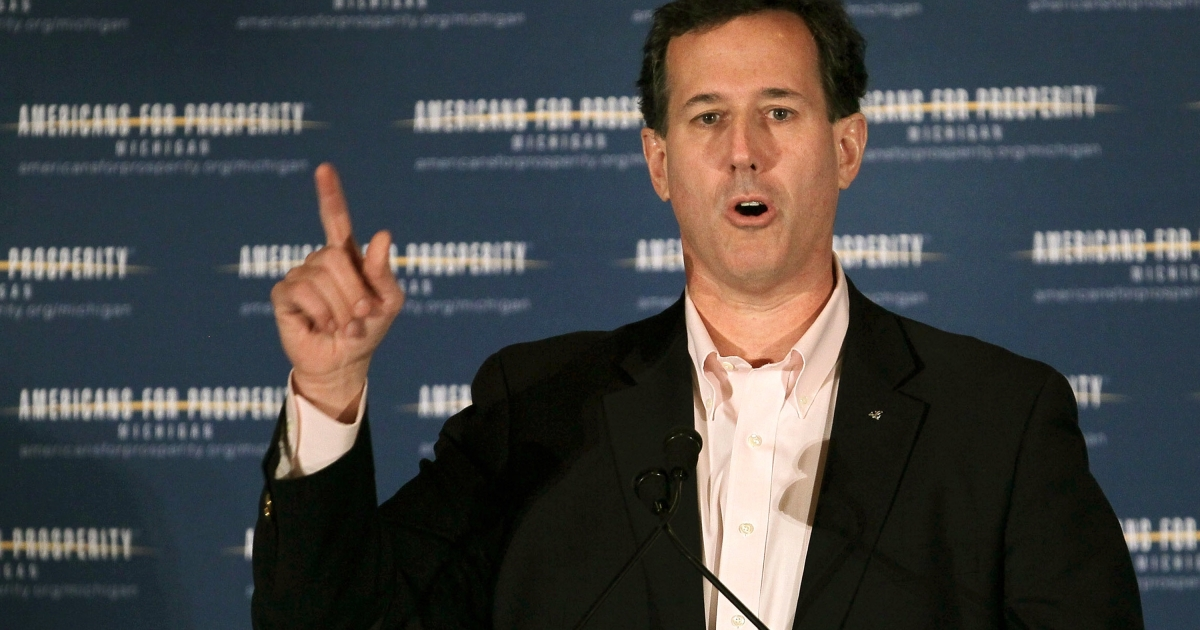 Republican presidential candidate Rick Santorum speaks at the Americans for Prosperity Presidential Forum during a campaign stop in Troy, Mich., on Feb. 25, 2012.</p>