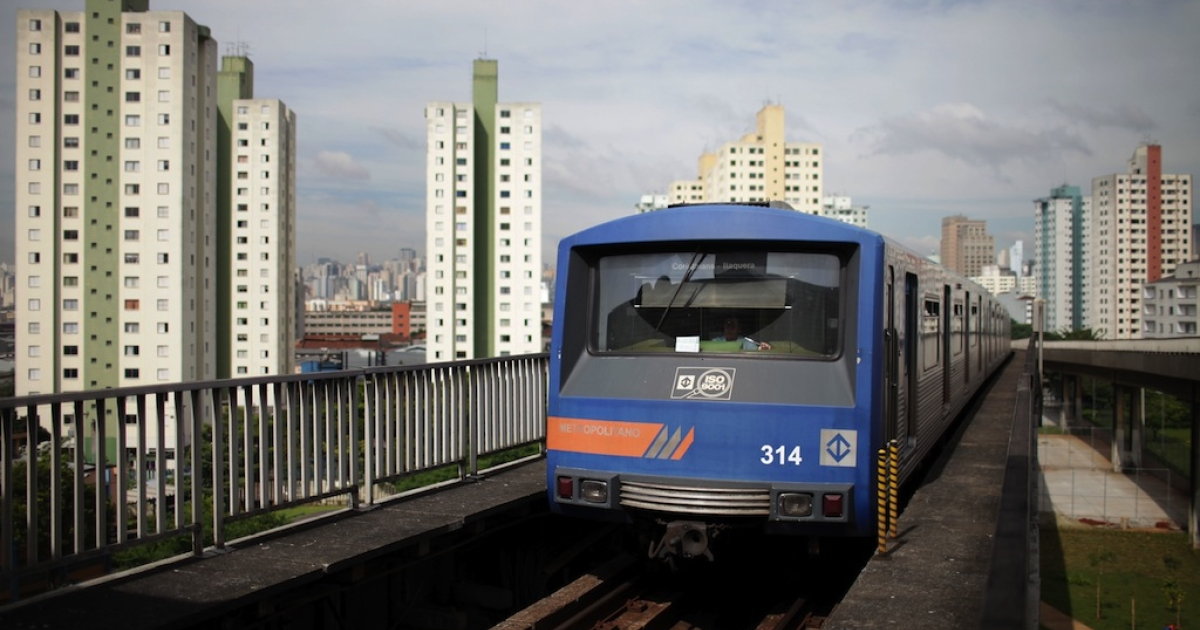 A train arrives at Bresser station in downtown São Paulo, Brazil, on January 27, 2010.</p>