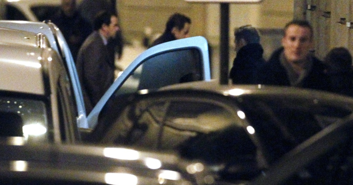 Nicolas Sarkozy visits the La Muette maternity clinic shortly after his daughter's birth on Wednesday night.</p>