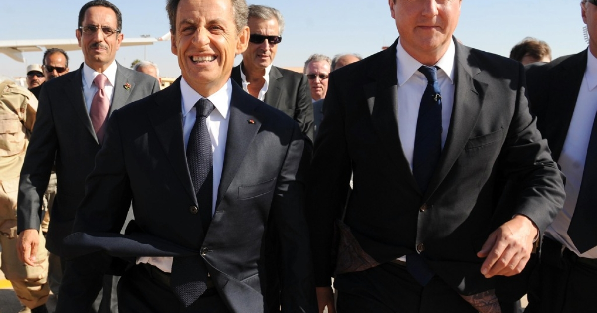 UK Prime Minister David Cameron and French President Nicholas Sarkozy.</p>