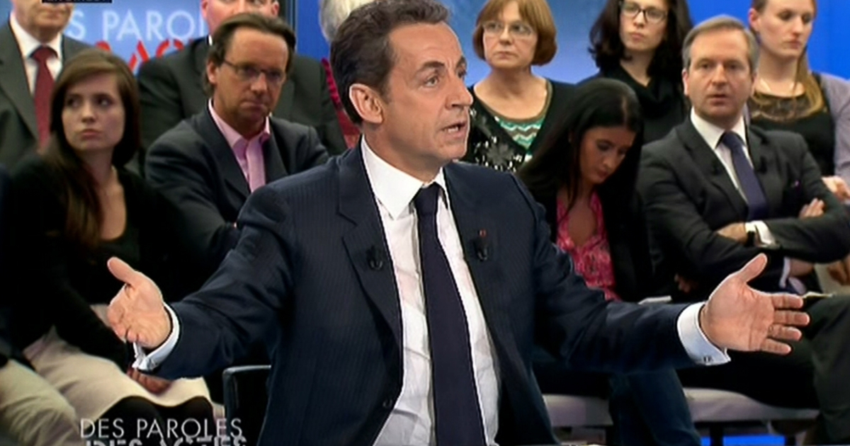 In this still image, Sarkozy is seen today during the TV broadcast of Des paroles et des actes, or