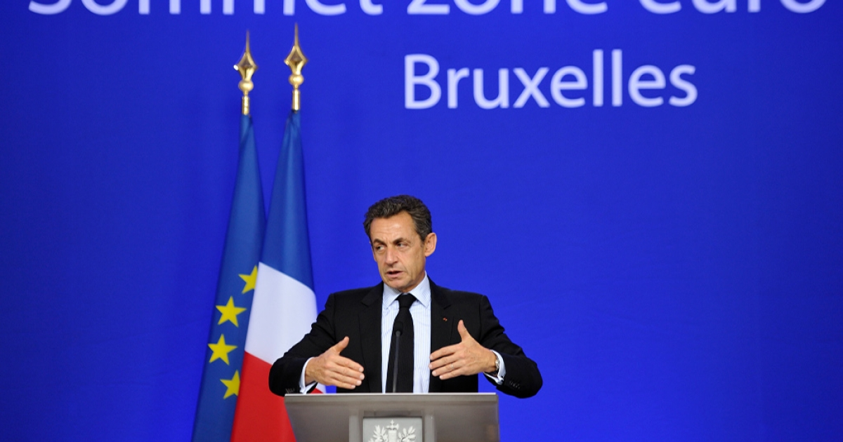 French President Nicolas Sarkozy gestures during a press conference held at the end of a Eurozone summit at the Justus Lipsius building, EU headquarters in Brussels, on October 27, 2011.</p>