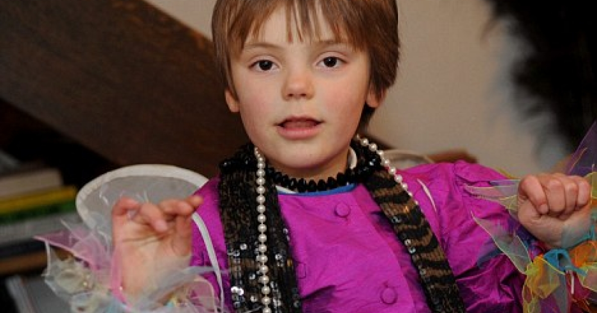 Sasha, wearing a dress. Sasha's father, a computer software designer, said Sasha is aware he is a boy and has been allowed to grow up taking an interest in whatever he wants.</p>