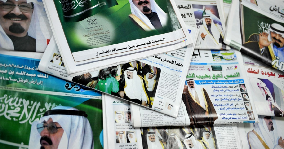 The front pages of Saudi newspapers featuring a story on the return of King Abdullah bin Abdul Aziz in the Saudi capital Riyadh on Feb. 23, 2011 as he flew out of Morocco and headed home after recovering from back surgery.</p>