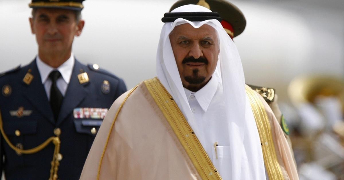 Saudi Crown Prince Sultan bin Abdul Aziz walks past an honor guard in Madrid on June 5, 2008.</p>