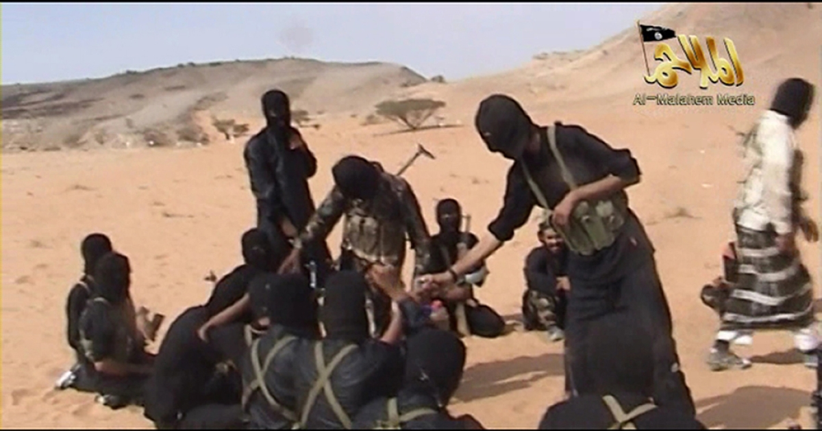 A screen shot of a video posted on the internet on October 6, 2010 shows militants from Al Qaeda in the Arabian Peninsula. Fifty men suspected of links to Al Qaeda were put on trial in Saudi Arabia on April 7, 2012.</p>