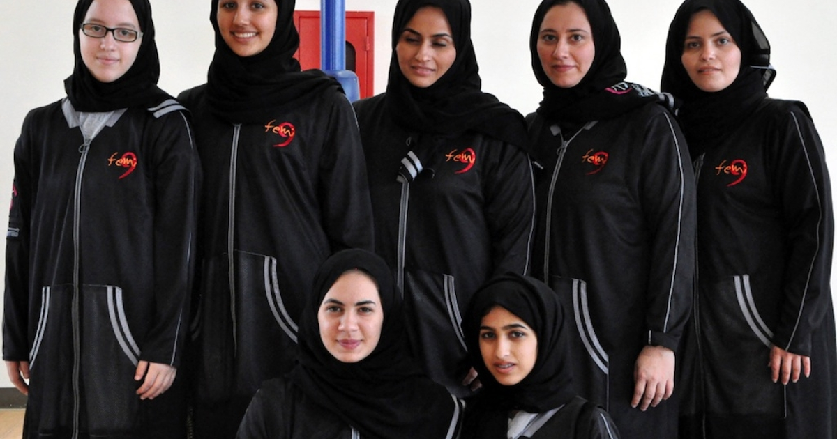 Members of the first female Saudi basketball team 'Jeddah United' pose for a team picture in the Red Sea port city of Jeddah on March 25, 2102. Saudi Arabia, where sports events for women are banned, will not send female athletes to the Olympics this year.</p>