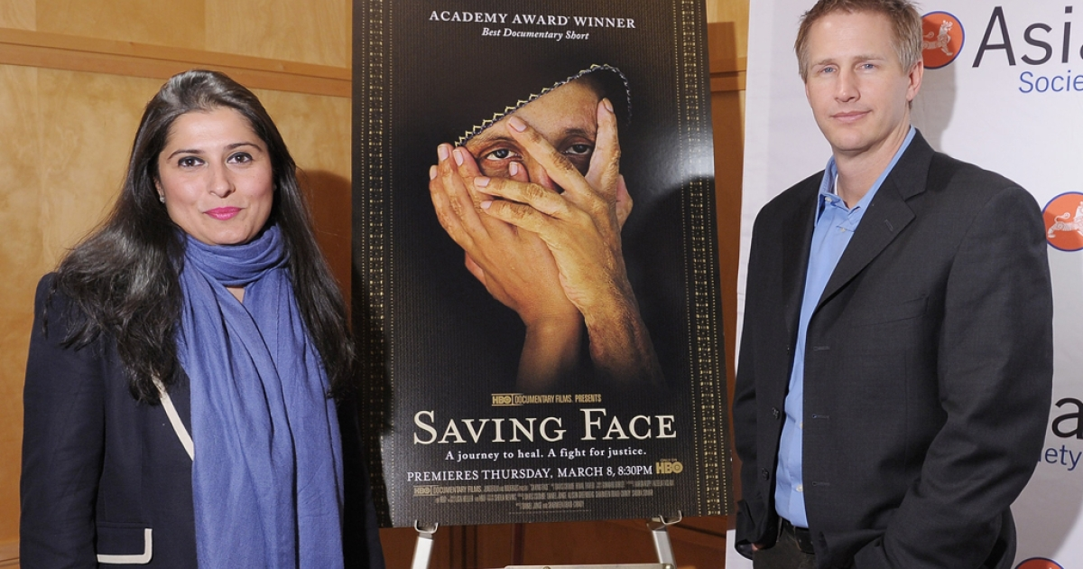 Producer Sharmeen Obaid-Chinoy and director Daniel Junge attend HBO's documentary screening of the Oscar winning film