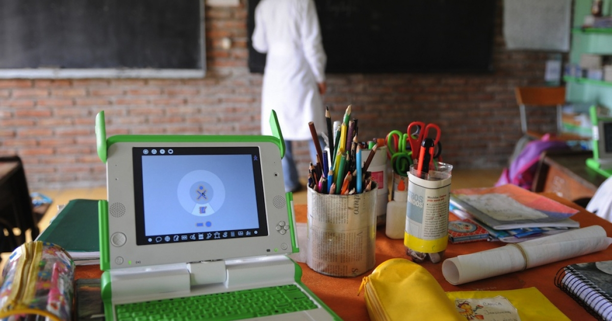 View of a pupil's desk at a rural school in Uruguay on October 1, 2008.</p>