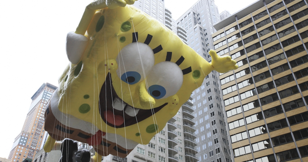Nickelodeon's SpongeBob SquarePants floats down Broadway for the 84th annual Macy's Thanksgiving Day Parade on November 25, 2010 in New York City. Scientists have named a mushroom in Borneo after SpongeBob SquarePants because of its sponge-like shape and bright color.</p>