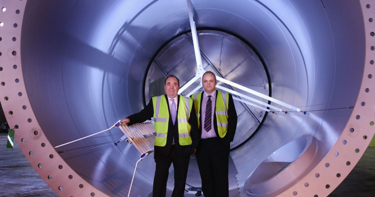 First Minister Alex Salmond (left) stands inside a turbine with Jim McPhillimy of Scottish and Southern Energy during a visit to the Skykon wind turbine factory at Machrihanish on March 9, 2011 in Campbeltown, Scotland.</p>