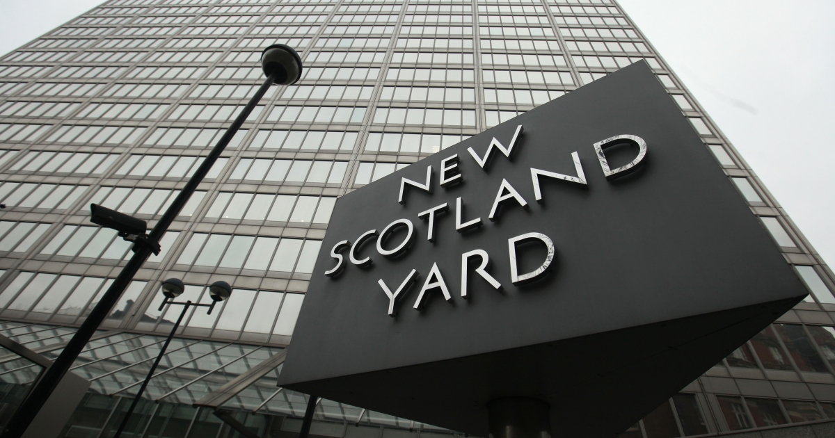 The New Scotland Yard building in London on Jan. 27, 2011.</p>