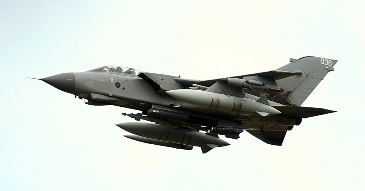 A British RAF Tornado GR4 similar to the one that narrowly escaped collision with a passenger plane near Stornoway Airport on Scotland's Isle of Lewis in July 2011</p>