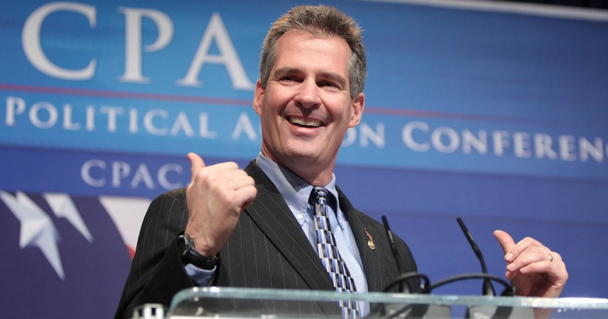 WASHINGTON - FEBRUARY 18: U.S. Senator Scott Brown (R-MA) speaks to attendees of the 37th Annual Conservative Political Action Conference (CPAC) on February 18, 2010 in Washington, DC.  Brown, who lost his Senate seat to Elizabeth Warren in November, is widely rumored to make a run to fill John Kerry's seat if Kerry's nomination to Secretary of State is confirmed.</p>