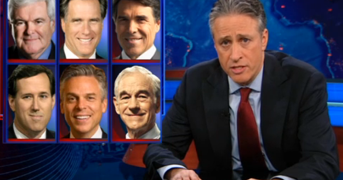 The Daily Show's Jon Stewart compared the GOP candidates' campaign tactics in Iowa and South Carolina.</p>