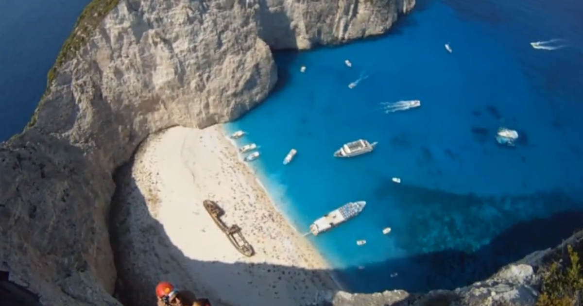 A cliff popular with BASE jumpers in Zante (Zakynthos) in Greece.</p>
