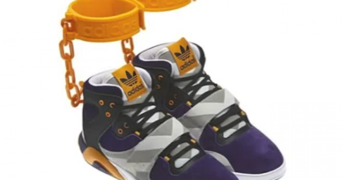 The new Adidas shoe immediately became controversial because of the bright orange bracelets attached to the footwear.</p>