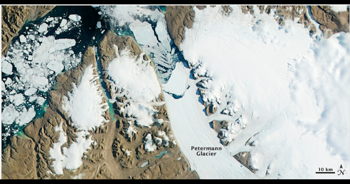 A satellite picture taken by NASA of the Petermann Glacier, showing a giant floating ice tongue. A giant iceberg broke off of the Petermann Glacier in 2010. Two years later and another chunk of ice has broken off.</p>