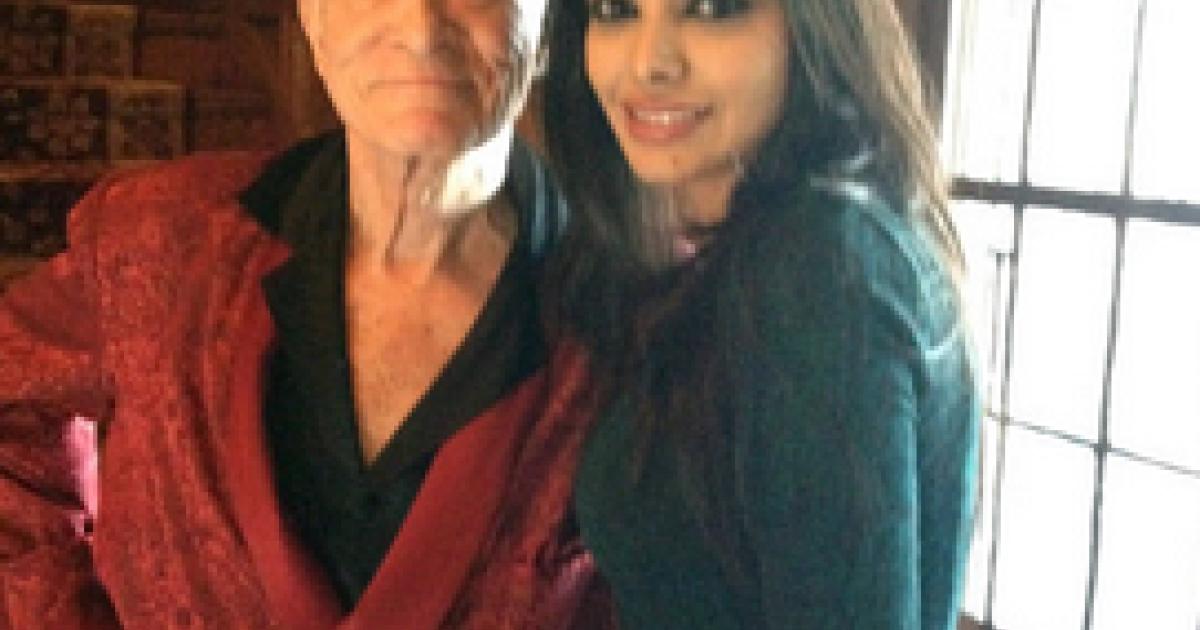 Sherlyn Chopra seen here with Hugh Hefner at the Playboy mansion.</p>