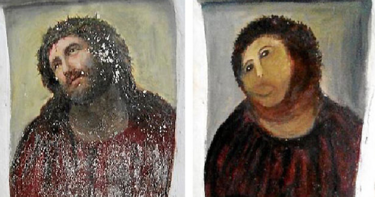 The Ecce Homo painting before and after seen here.</p>