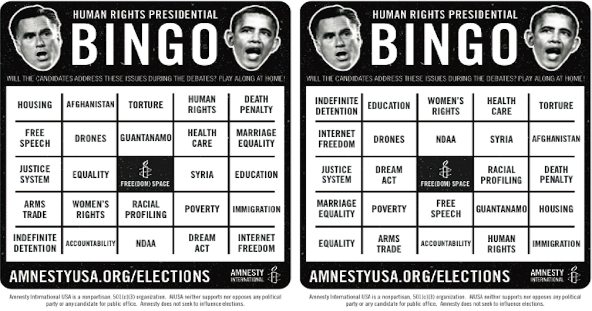 Need a drinking game idea for tonight's debate? Amnesty's got you covered.</p>