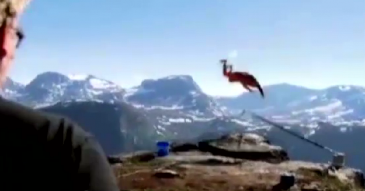 Footage captured by the Norwegian television network NRK of Richard Henriksen's BASE jump gone wrong.</p>