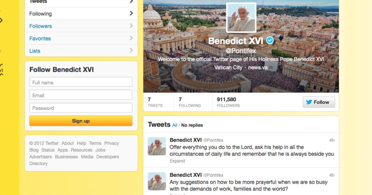 A screenshot of Pope Benedict XVI's twitter account.</p>