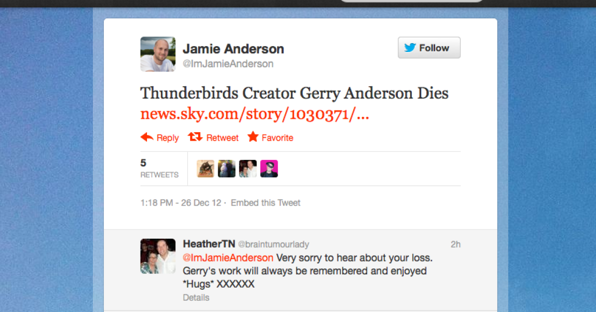A screengrab from the Twitter page of Jamie Anderson, son of
