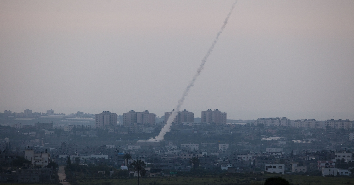 A rocket being launched from Gaza is seen from the Israeli side of the border.</p>