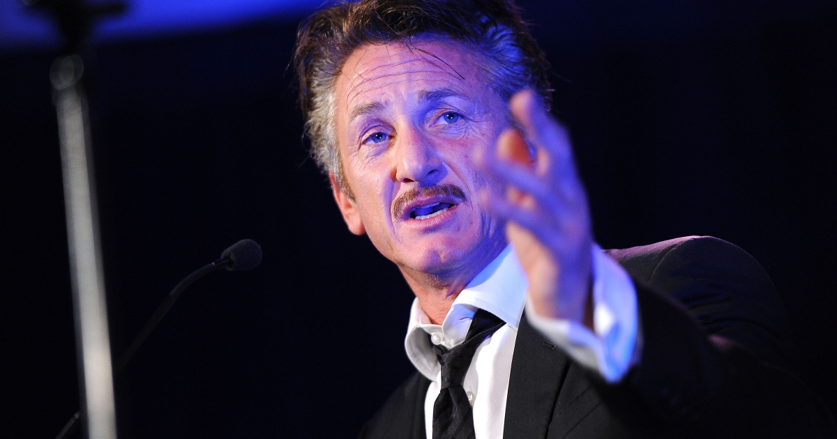Actor Sean Penn speaks onstage at the Cinema For Peace event benefiting the J/P Haitian Relief Organization on Jan 14 in Los Angeles.</p>